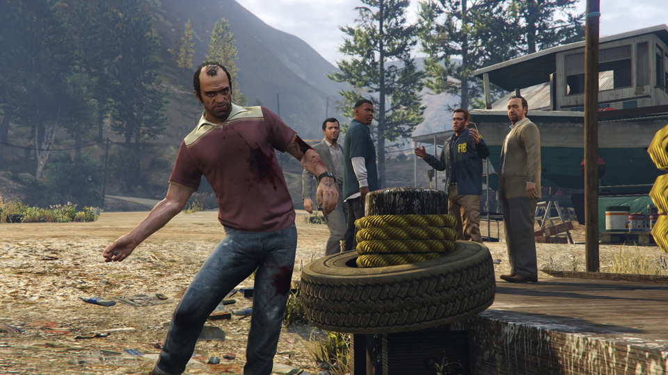 The entire crew, along with some FIB goons.