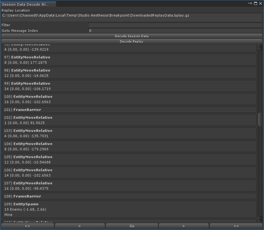 An image of the Unity editor window I created to debug replay issues.