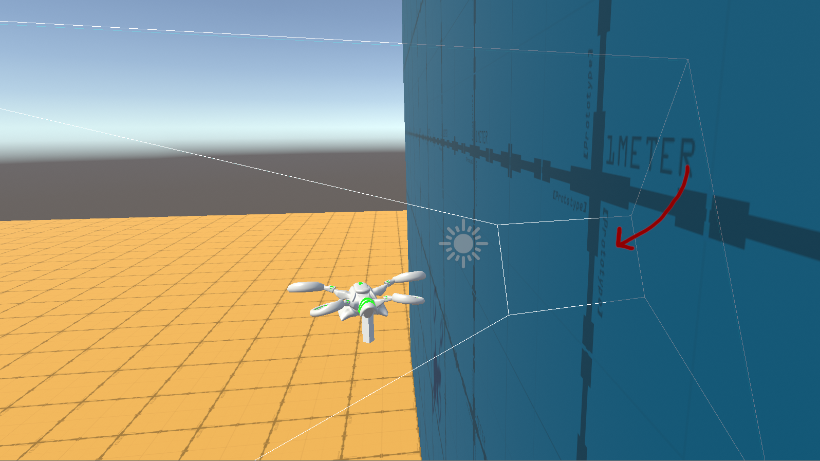 Camera clipping through a wall in the scene view; the gizmo shows the near-clip plane going through the wall