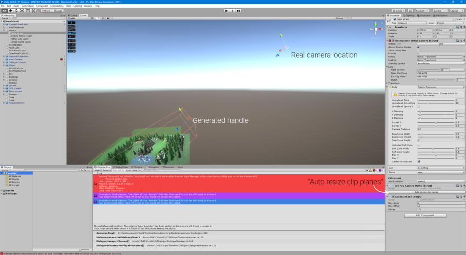 Screenshot of editor with camera utility functions higlighted