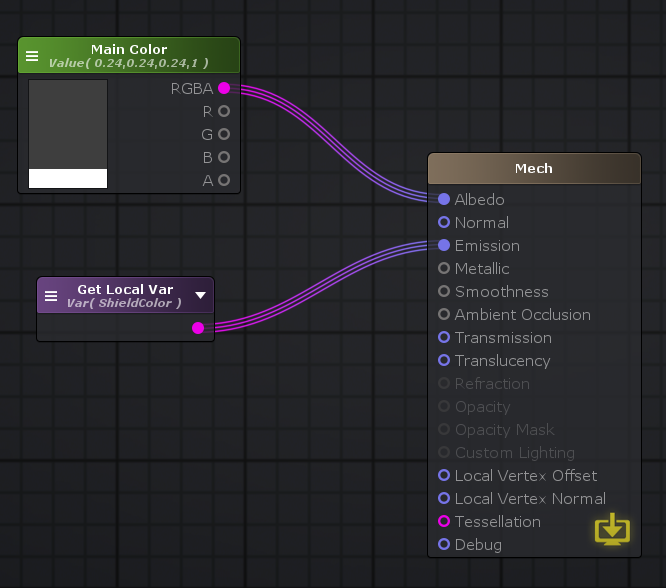 Output of the mech shader graph