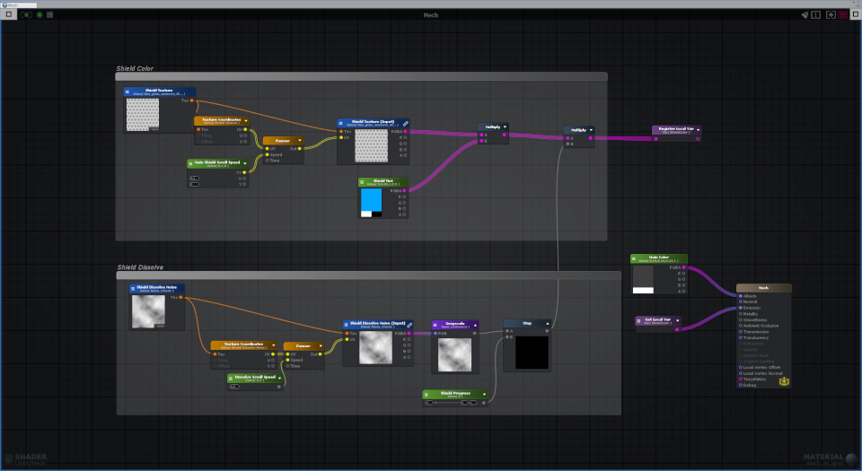 Shader graph for the mech materials