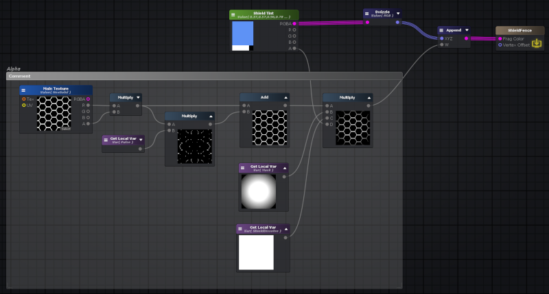 Portion of the shader graph that composites the pulse, hex, and additional mask