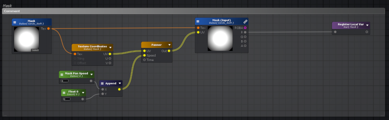 Portion of the decal shader graph that scrolls the mask