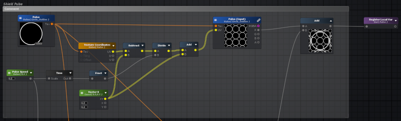 Portion of the shader graph that generates the pulses