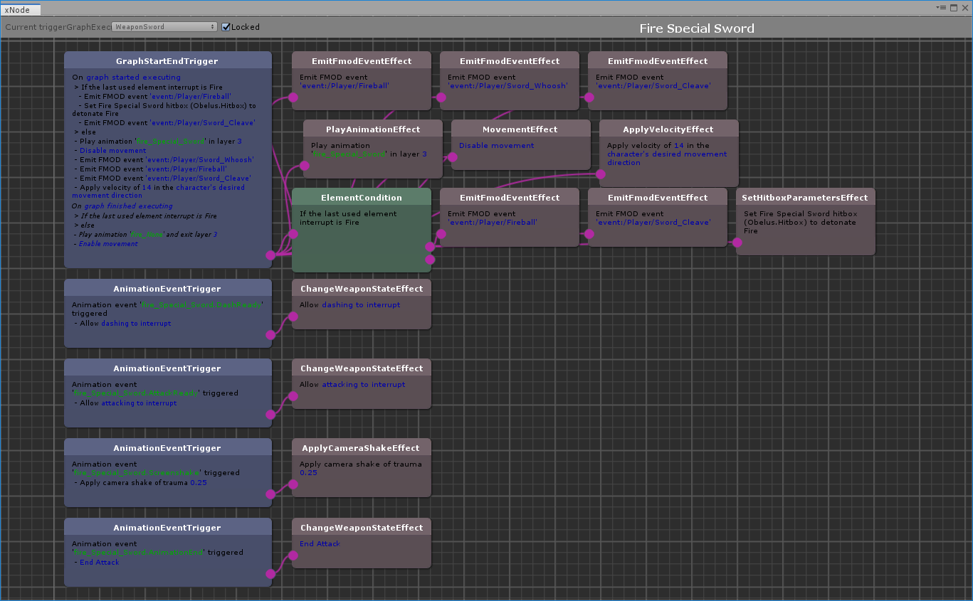 Screenshot of the node graph which we use for defining weapons.
