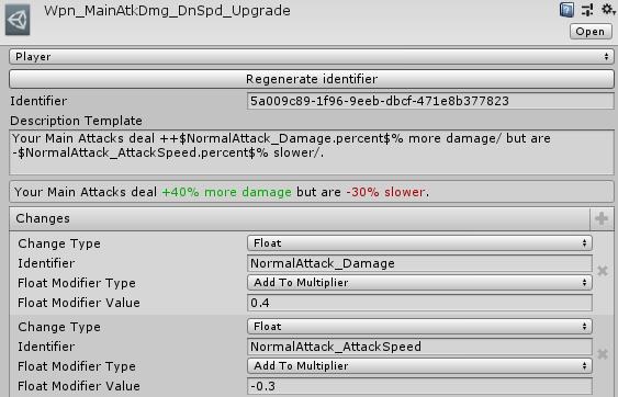 Screenshot of Obelus' status effect inspector.