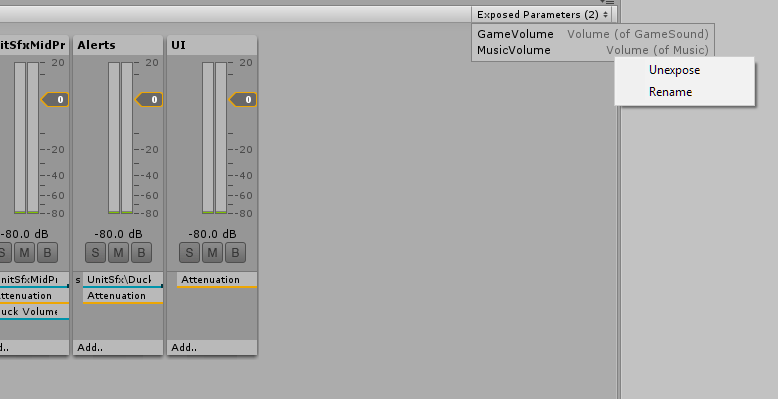 Exposed parameters, found at the top-right of the AudioMixer inspector.