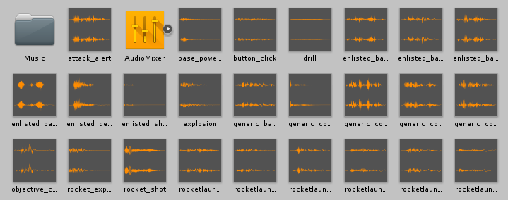 A bunch of Audio clips in a Unity asset library.