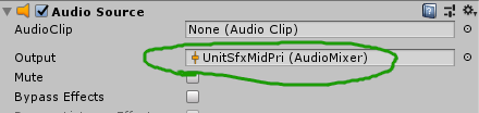 Audio Source with Output configured to the UnitSfxMidPri group.